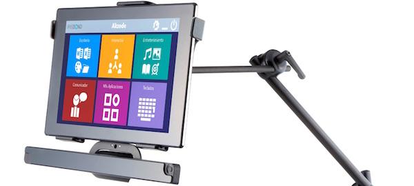 Irisbond Duo adaptado a tablet y brazo articulado.