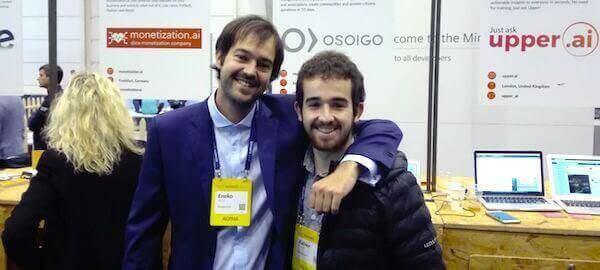 Eneko Agirre eta Xabier Murua Web Summit Lisboa ekitaldian, Osoigo plataformaren aurkezpenean.