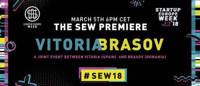 Cartel de lanzamiento de Startup Europe Week en Vitoria-Gasteiz y Brasov.