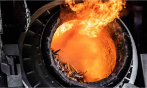 Charging of aluminium scrap meting furnace