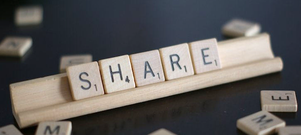 fichas formando la palabra share