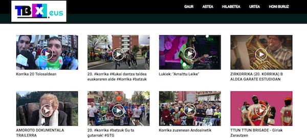 Portal TBX con los vídeos más vistos.