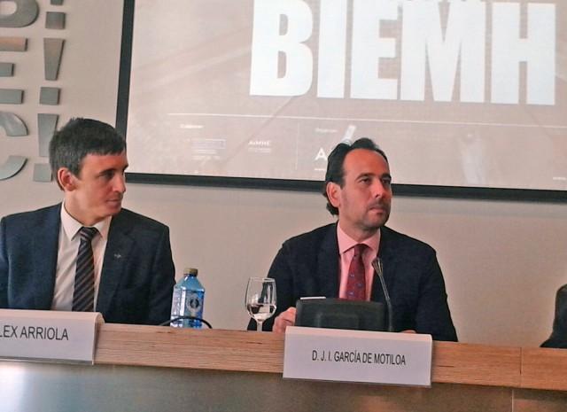 J.I. Motiloa, Viceconsejero de Industria y Energia y Alexander Arriola en rueda de prensa en BIEHM